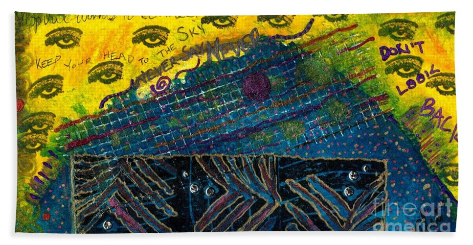 Women Hand Towel featuring the mixed media Eyes In The Sky by Angela L Walker