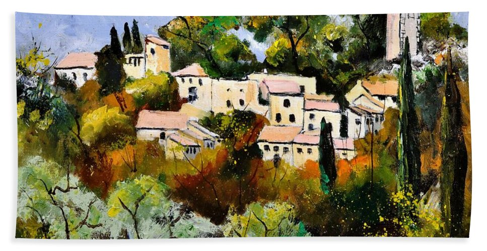Landscape Bath Sheet featuring the painting Eygalieres by Pol Ledent