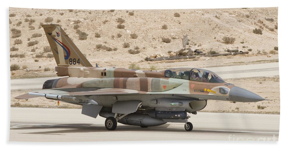 Israel Hand Towel featuring the photograph F-16i Sufa Fighting Falcon by Giovanni Colla