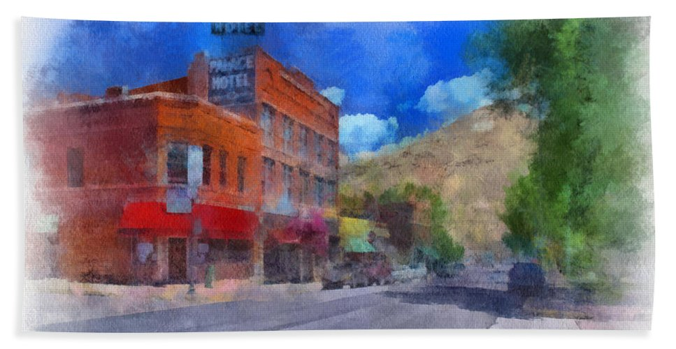 Santa Bath Sheet featuring the digital art F And S Salida Watercolor by Charles Muhle