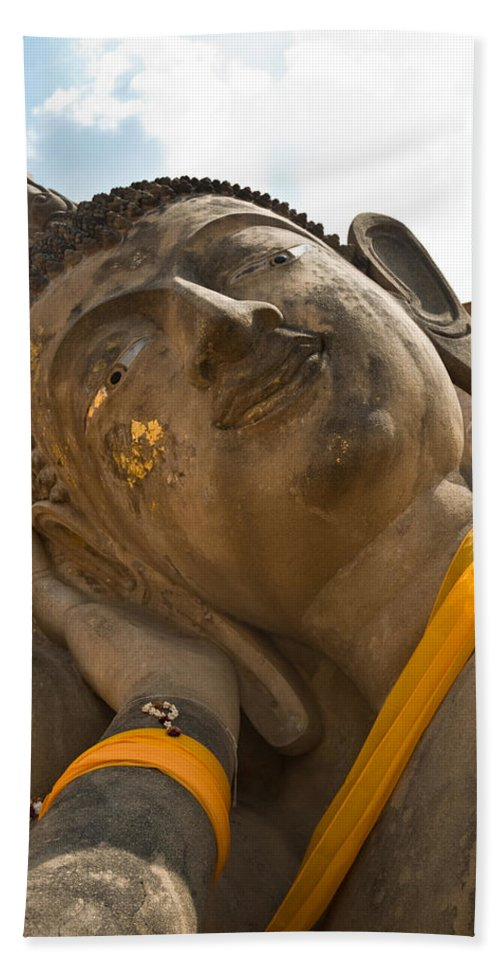 Ancient Bath Sheet featuring the photograph Face Of A Reclining Buddha by U Schade