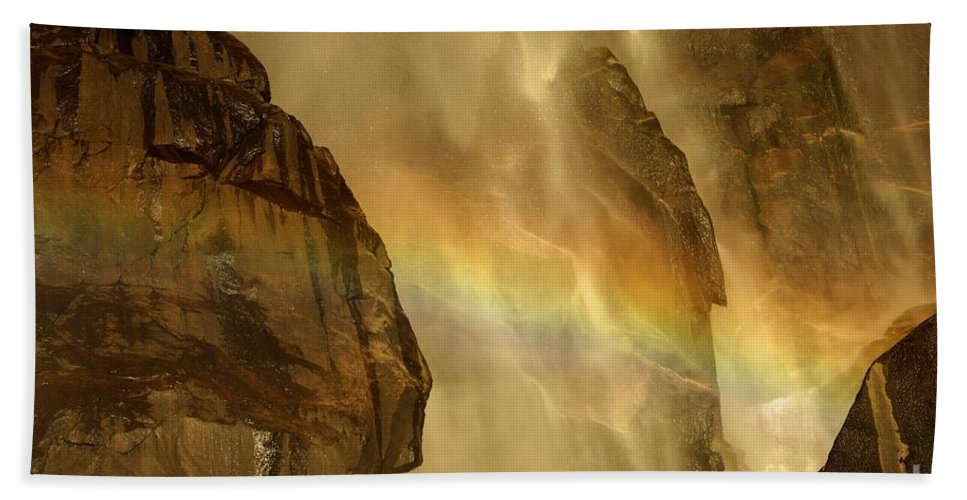 Yosemite National Park Hand Towel featuring the photograph Faces In The Falls by Adam Jewell