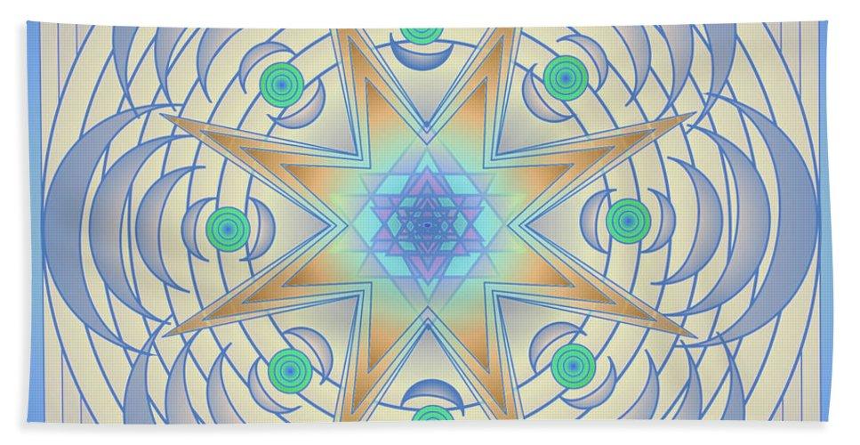 Mandala Art Hand Towel featuring the digital art Fading Geometrics by Mario Carini