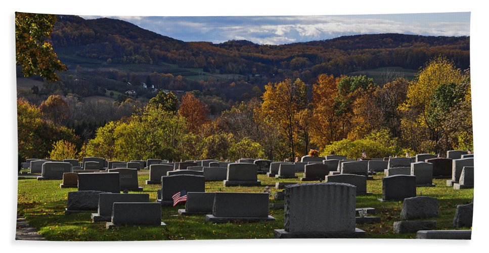 Boyertown Hand Towel featuring the photograph Fairview Cemetery In Autumn by Trish Tritz