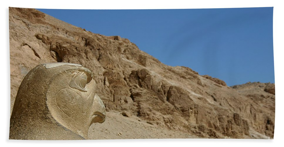 Egypt Bath Sheet featuring the photograph Falcon Sculpture by Darcy Michaelchuk