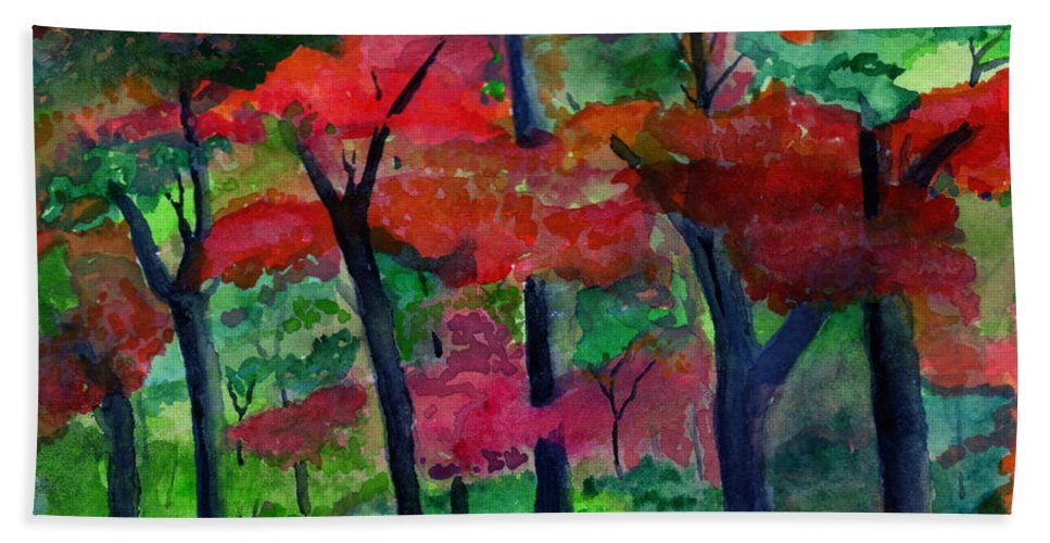 Trees Bath Sheet featuring the painting Fall Colors by Michael Brennan