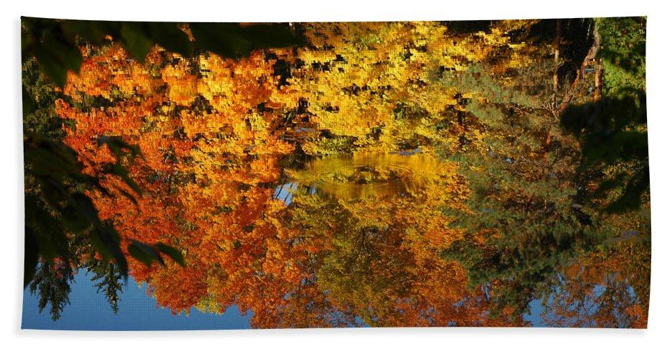 Usa Bath Sheet featuring the photograph Fall Reflectionsin Michigan by LeeAnn McLaneGoetz McLaneGoetzStudioLLCcom