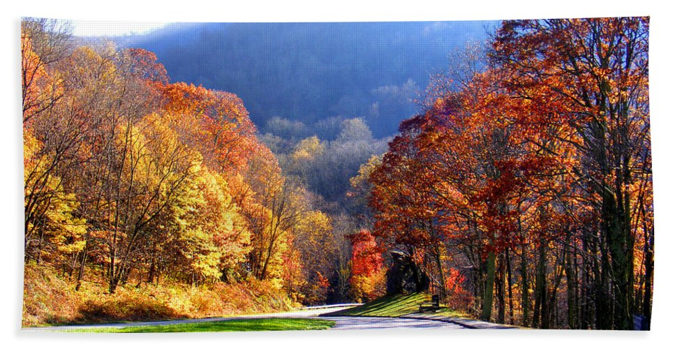 Fall Hand Towel featuring the photograph Fall Road 2 by Duane McCullough