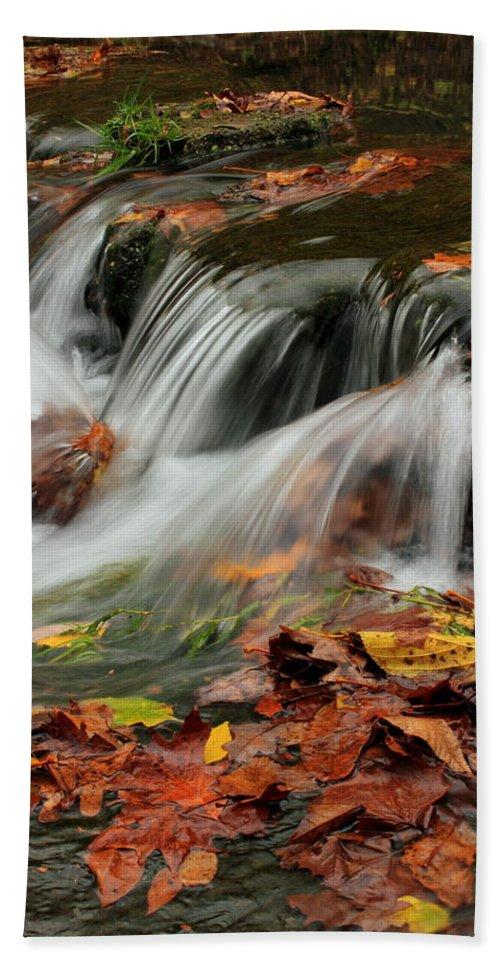 Landscape Bath Sheet featuring the photograph Fall Rush by Bryan Noll