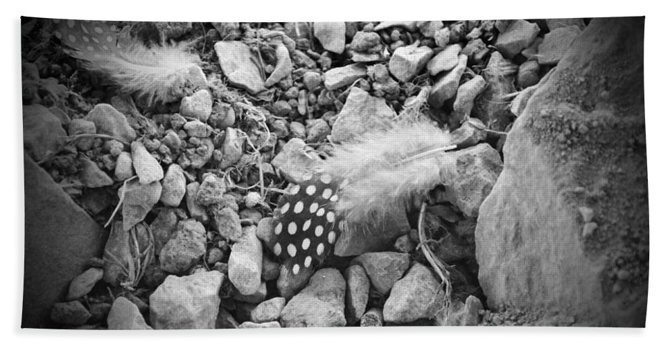 Bird Bath Sheet featuring the photograph Fallen Feathers Black And White by Brittany Horton