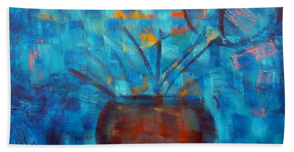 Art Hand Towel featuring the painting Falling Into Blue by Karen Francis