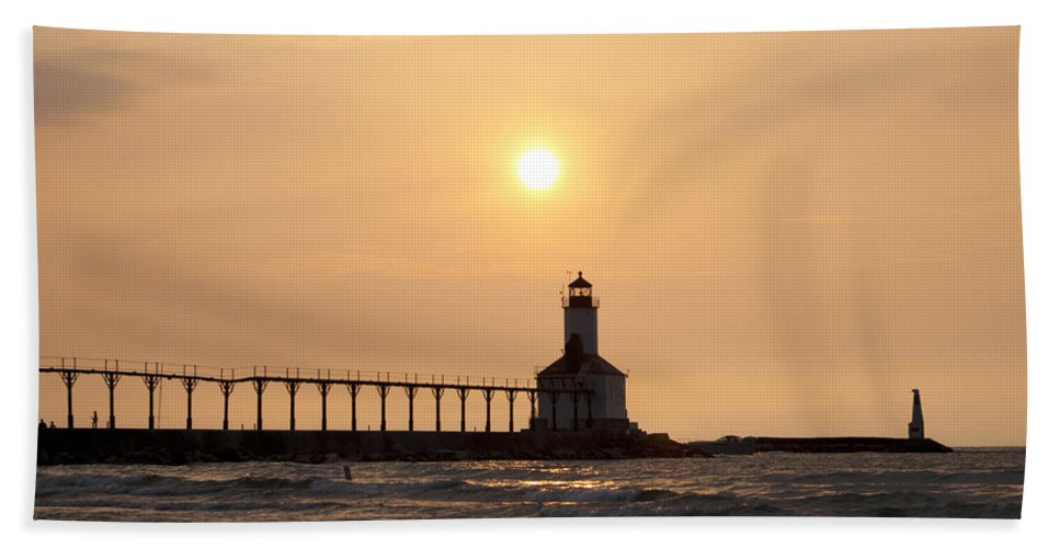 Lighthouse Hand Towel featuring the photograph Falling On The Lighthouse by Scott Wood