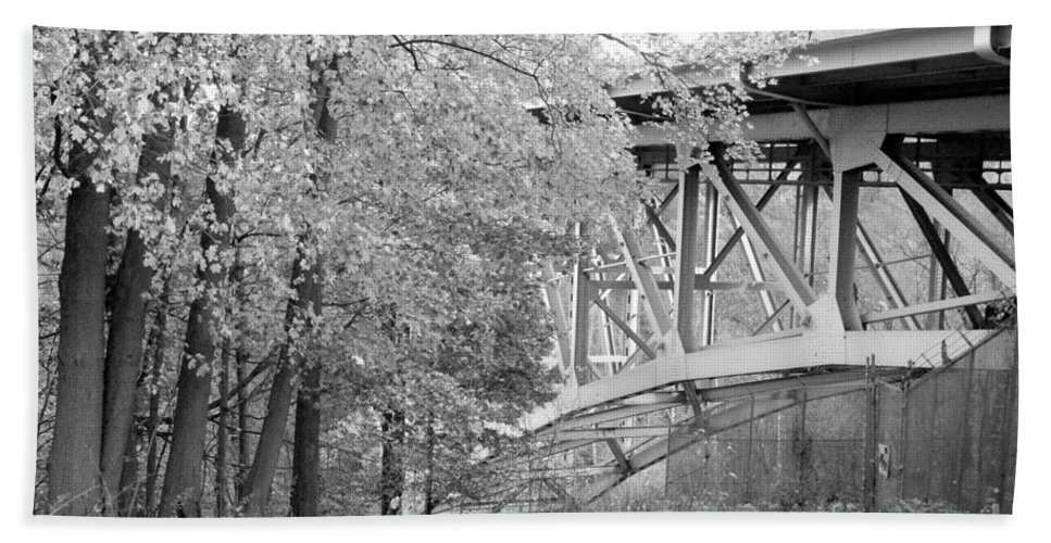 Fall Hand Towel featuring the photograph Falling Under The Bridge by Trish Hale