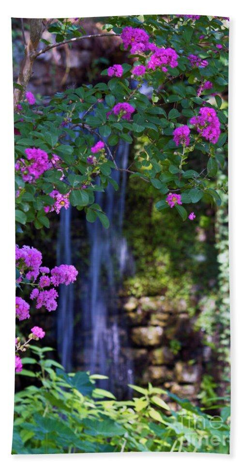 Flowers Bath Sheet featuring the photograph Falling Water by Ken Frischkorn