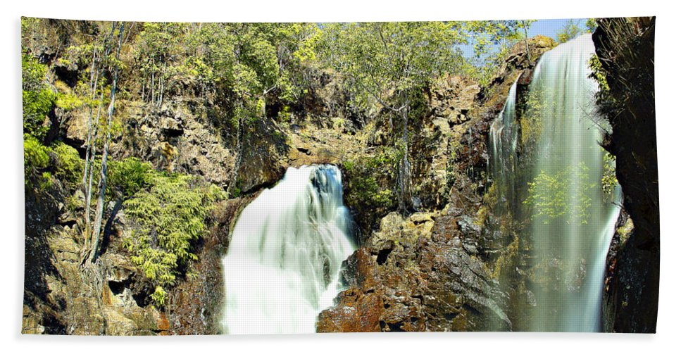 Waterfall Hand Towel featuring the photograph Falling Waters V2 by Douglas Barnard