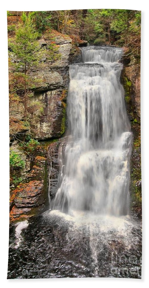 Autumn Hand Towel featuring the photograph Falls At Bushkill by Nick Zelinsky