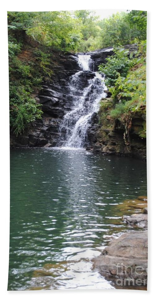 Waterfall Hand Towel featuring the photograph Falls Into The Pond by Jost Houk