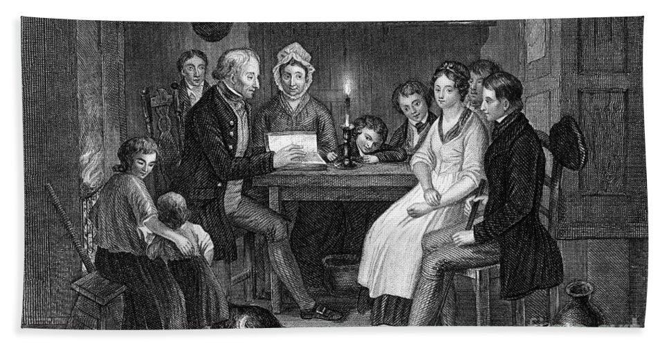 1840 Bath Sheet featuring the photograph Family Reading, 1840 by Granger