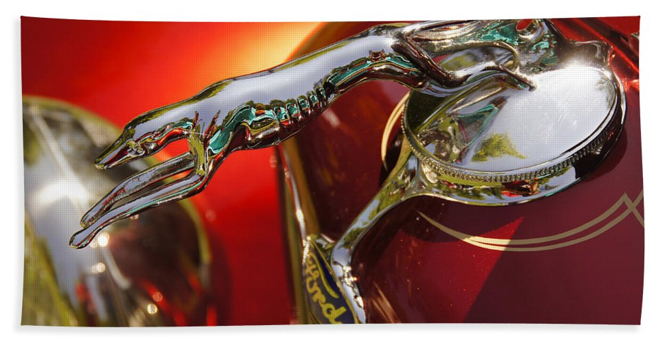 Fancy Bath Sheet featuring the photograph Fancy Ford Chrome Hood Ornament by Mick Anderson