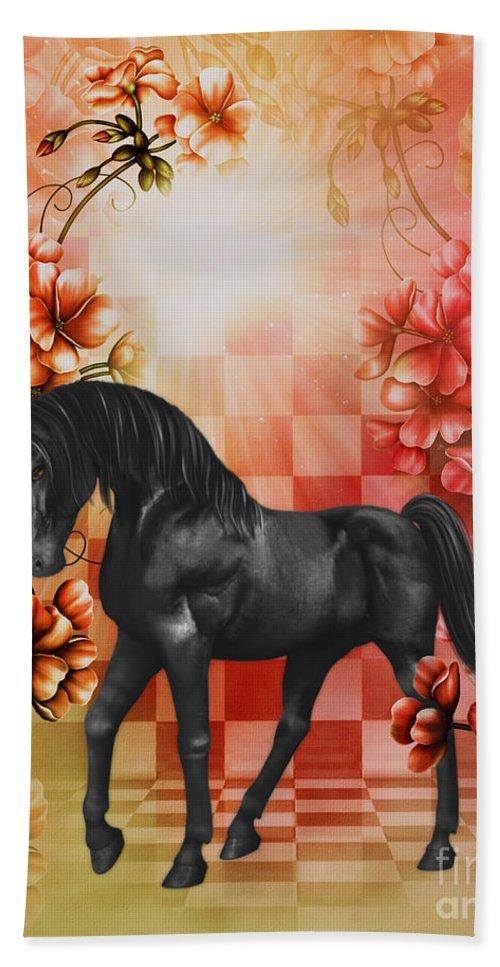 Fantasy Bath Sheet featuring the digital art Fantasy Black Horse by Smilin Eyes Treasures