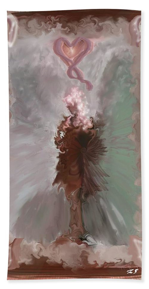 Fantasy Art Bath Sheet featuring the digital art Fantasy Girl by Linda Sannuti