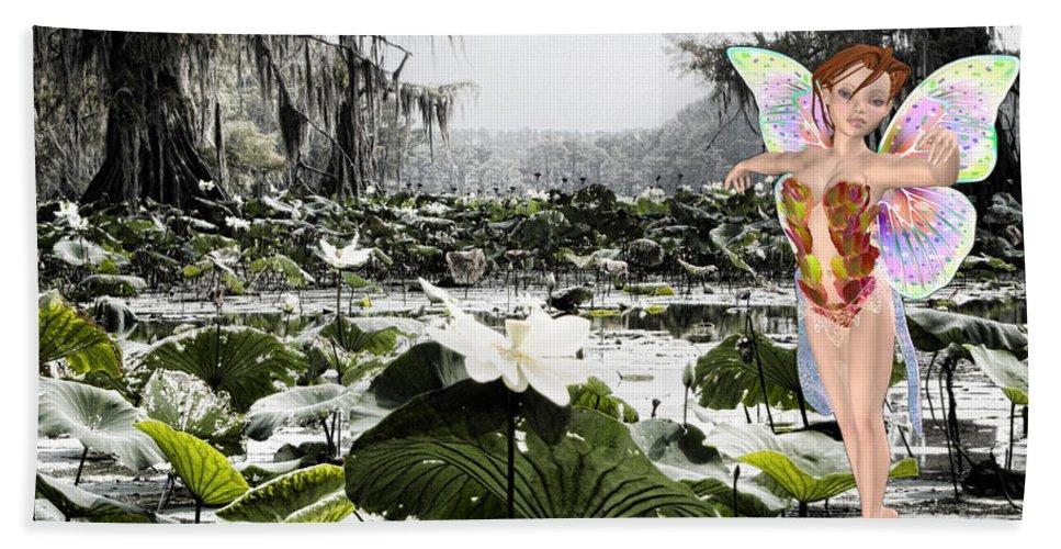 Lillies Bath Sheet featuring the mixed media Fantasy Woods by Douglas Barnard
