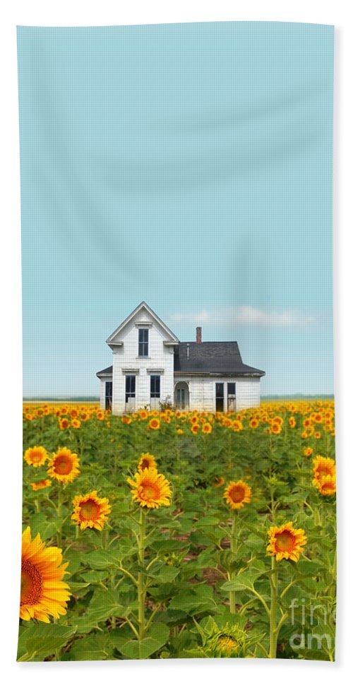 Farm Hand Towel featuring the photograph Farmhouse In A Field Of Sunflowers by Jill Battaglia