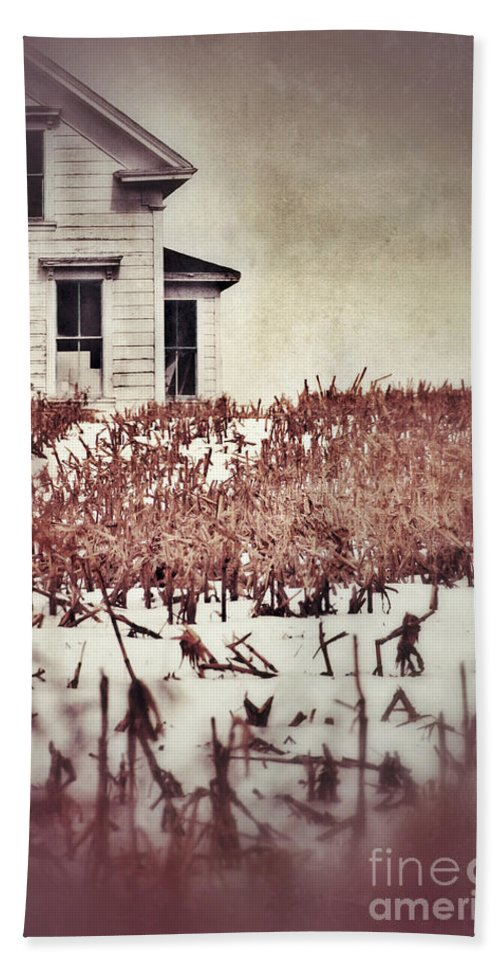 Farm Bath Sheet featuring the photograph Farmhouse In Winter by Jill Battaglia