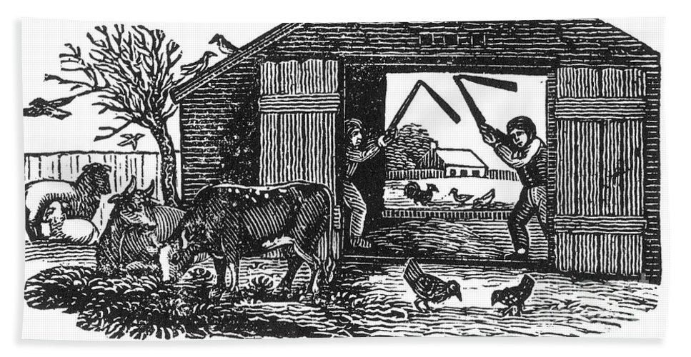 19th Century Bath Sheet featuring the photograph Farming: Threshing by Granger