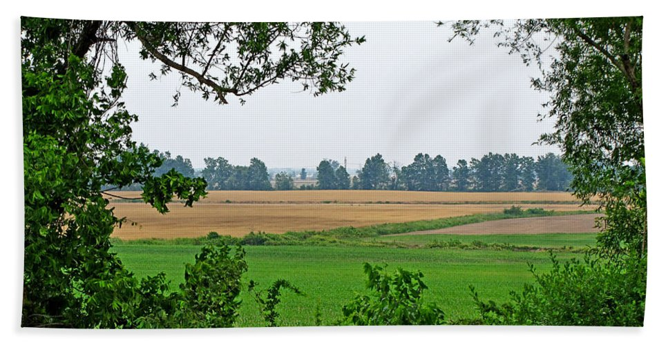 Landscape Bath Sheet featuring the photograph Farmland View by Debbie Portwood