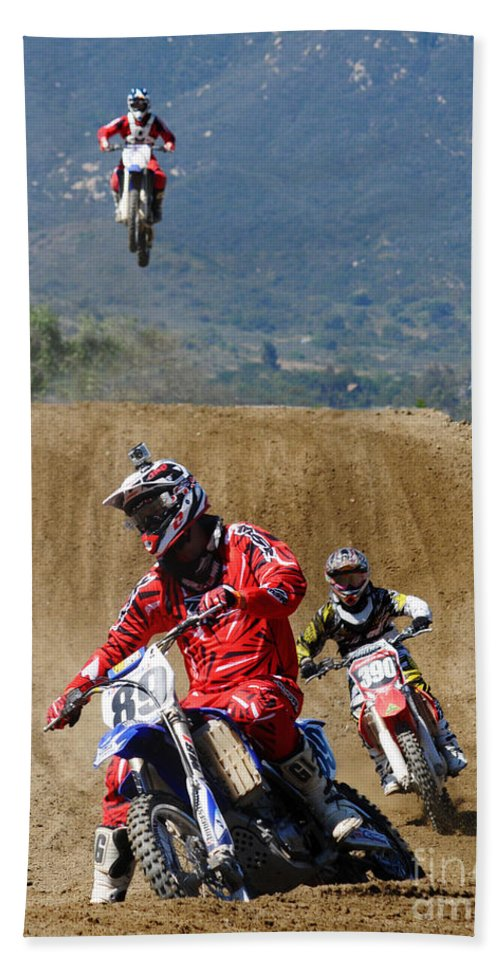 Motocross Hand Towel featuring the photograph Fast And Furious by Vivian Christopher