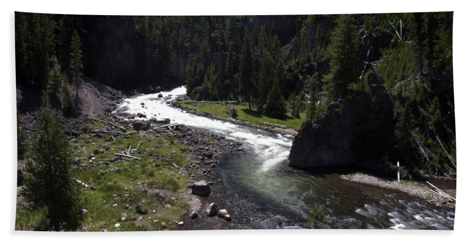 Firehole River Yellowstone National Park Wyoming Usa Beauttiful Fast Flowing Rapids Bath Sheet featuring the photograph Fast Rapids On Firehole River Yellowstone by Paul Cannon