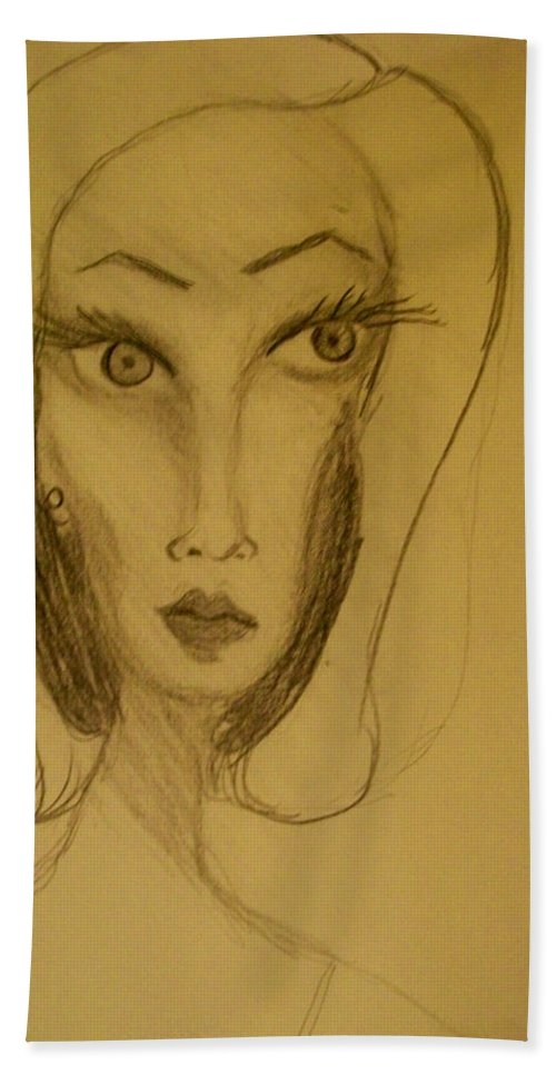 Hand Towel featuring the drawing Fawny Eyes by Laurette Escobar