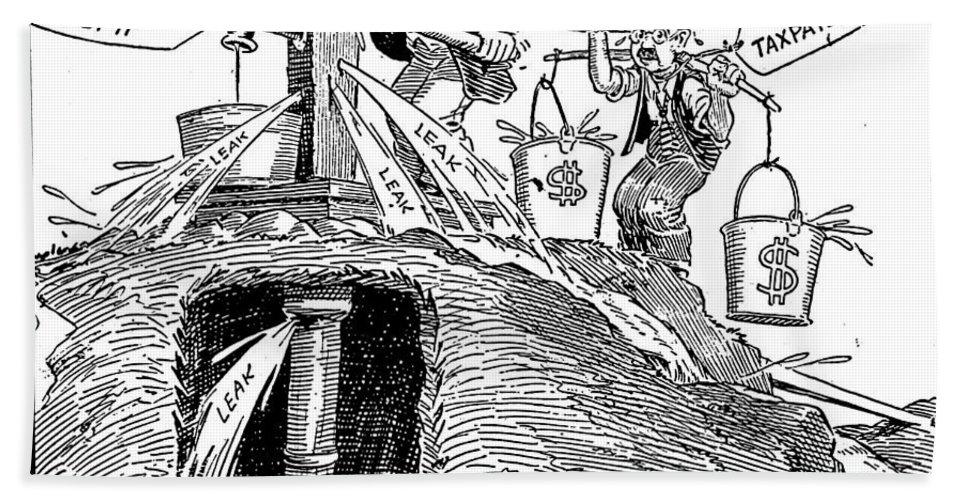 1930s Bath Sheet featuring the photograph F.d.r. Cartoon, 1930s by Granger