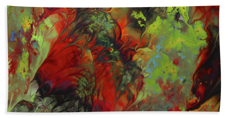 Abstract Bath Sheet featuring the painting Fear by Miki De Goodaboom