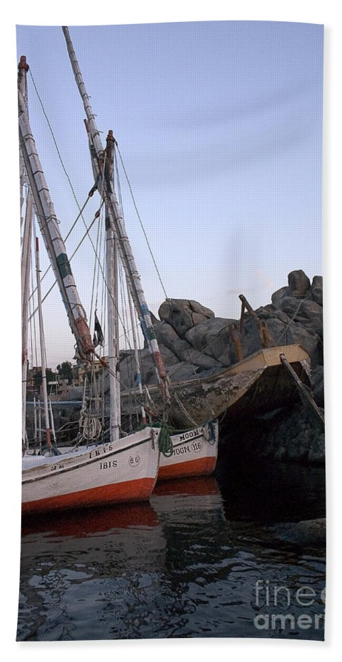 Aswan Bath Sheet featuring the photograph Felucca Parking by Darcy Michaelchuk