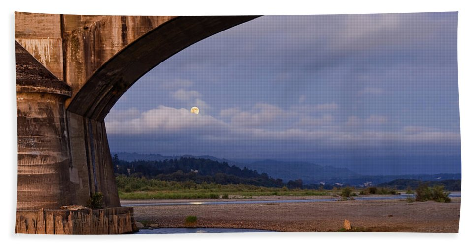 Architecture Bath Sheet featuring the photograph Fernbridge And The Moon by Greg Nyquist