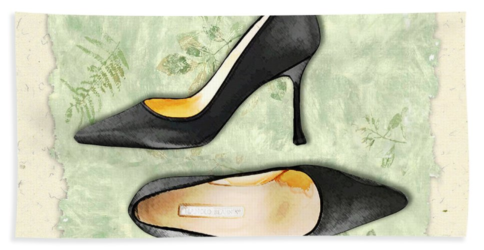 Shoes Heels Pumps Fashion Designer Feet Foot Shoe Stilettos Painting Paintings Illustration Illustrations Sketch Sketches Drawing Drawings Pump Stiletto Fetish Designer Fashion Boot Boots Footwear Sandal Sandals High+heels High+heel Women's+shoes Graphic Sophisticated Elegant Modern Hand Towel featuring the painting Ferns And Feet by Elaine Plesser
