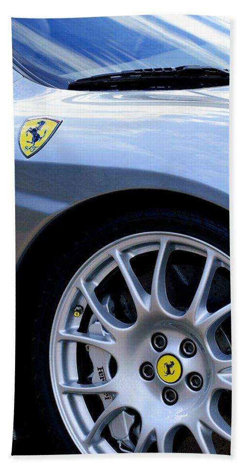 Ferrari Bath Sheet featuring the photograph Ferrari Wheel And Emblems by Jill Reger