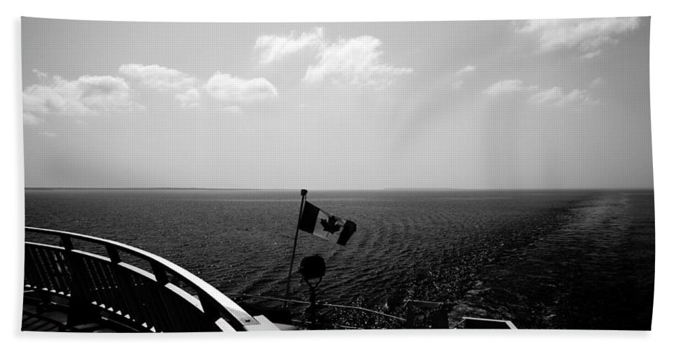 Black And White Bath Sheet featuring the photograph Ferry Ride by Cale Best