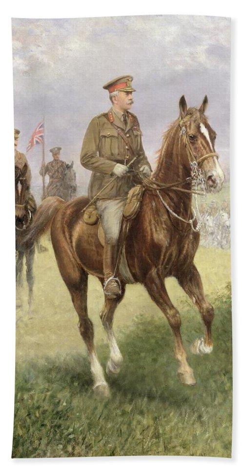 Field Bath Sheet featuring the painting Field Marshal Haig by Jan van Chelminski