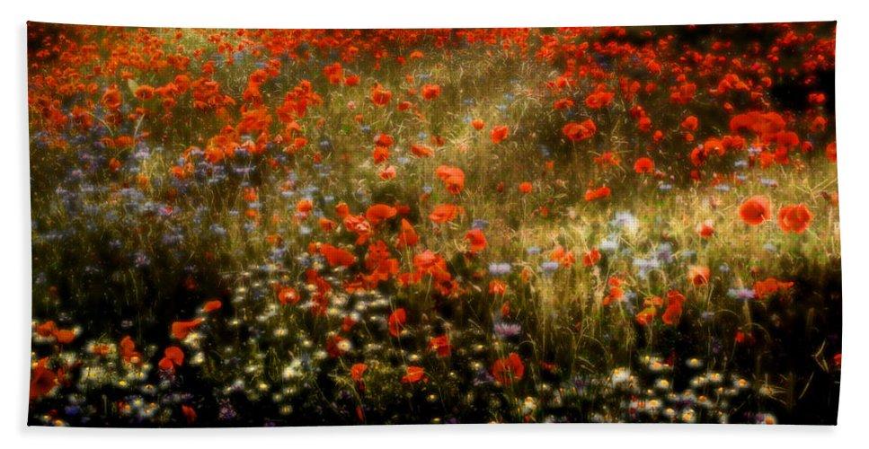 Floral Bath Sheet featuring the photograph Field Of Wildflowers by Ellen Heaverlo