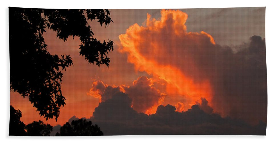 Sunset Hand Towel featuring the photograph Fiery Sunset by Peg Urban