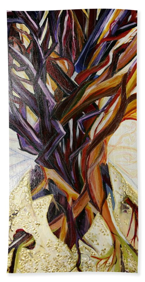 Apple Bath Towel featuring the painting Fifth World Three by Kate Fortin
