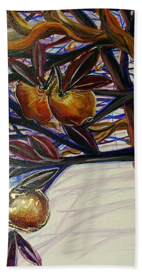 Tree Hand Towel featuring the painting Fifth World Two by Kate Fortin