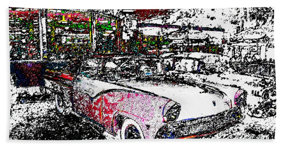Art Hand Towel featuring the painting Fifties Drive In by David Lee Thompson