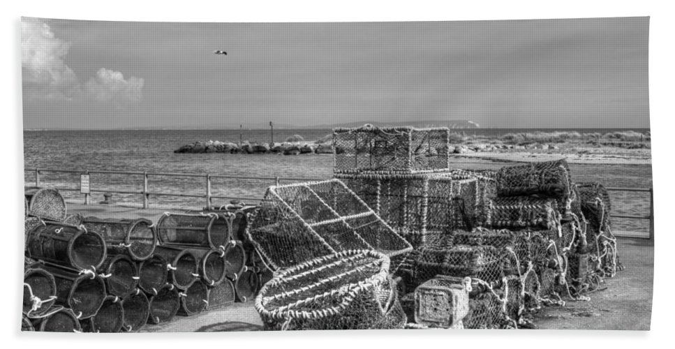 Hengistbury Head Hand Towel featuring the photograph Fiishing Nets At Mudeford Quay by Chris Day