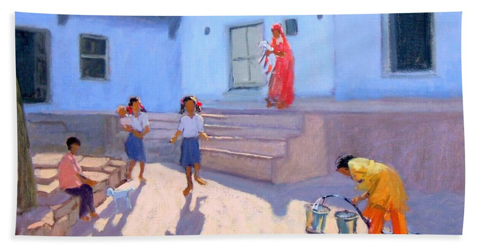 Indian Hand Towel featuring the painting Filling Water Buckets by Andrew Macara