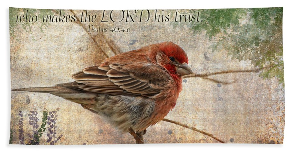 Nature Bath Sheet featuring the photograph Finch Greeting Card With Verse by Debbie Portwood