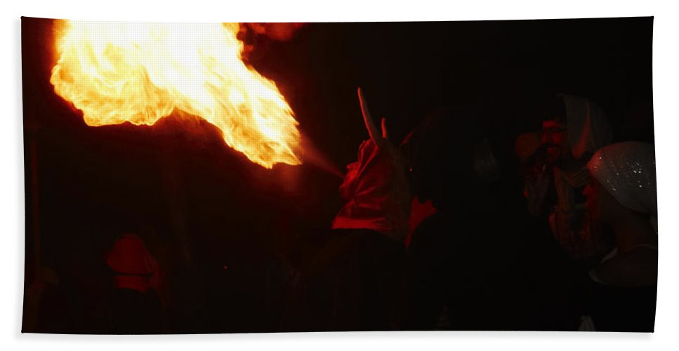 Fuego Bath Sheet featuring the photograph Fire Blower by Agusti Pardo Rossello